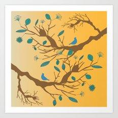 Birds on a branch 2 Art Print