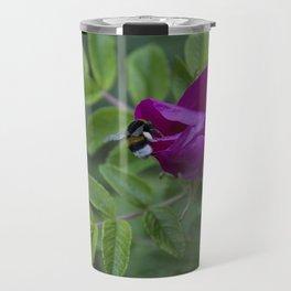 Bumble Bee On Wild Rose Travel Mug