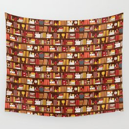 Book Case Pattern - Red and Gold Wall Tapestry
