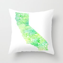 Typographic California - Green Watercolor map Throw Pillow