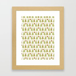 Traditional Christmas Trees Doodle Framed Art Print