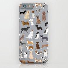 Mixed Dog lots of dogs dog lovers rescue dog art print pattern grey poodle shepherd akita corgi iPhone 6s Slim Case