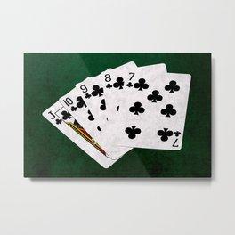 Poker Straight Flush Clubs Metal Print