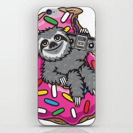 Sloth Music Donut iPhone Skin