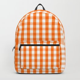 Classic Pumpkin Orange and White Gingham Check Pattern Backpack