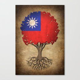 Vintage Tree of Life with Flag of Taiwan Canvas Print