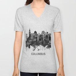 Columbus Ohio skyline BW Unisex V-Neck