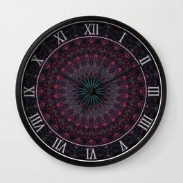 Mandala in dark red and brown tones Wall Clock