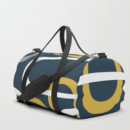 Mid Century Modern Loops Pattern in Light Mustard Yellow, Navy Blue, Gray, and White Duffle Bag