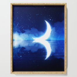 Crescent Moon over blue Starry Sky Serving Tray