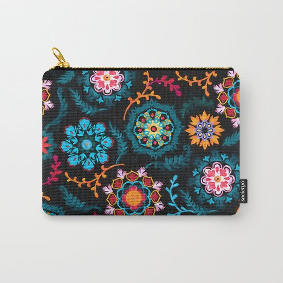 Suzani Inspired Pattern on Black Carry-All Pouch