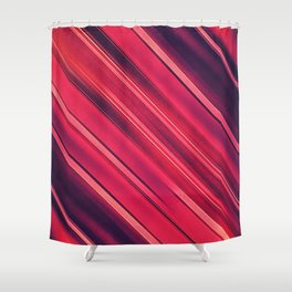 Moder Red / Black Stripe  Abstract Stream Lines Textuer Design Shower Curtain