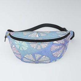 sea urchin blue watercolor Fanny Pack