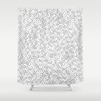 polkadot Shower Curtains featuring Polkadot Dominos by chelsea dawn brown
