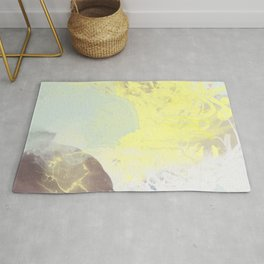 watercolor abstract mint yellow brown art  Rug