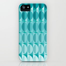 Leaves in the moonlight - a pattern in teal iPhone Case