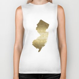 New Jersey state map gold foil Biker Tank
