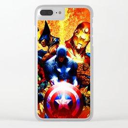 super heroes unite Clear iPhone Case