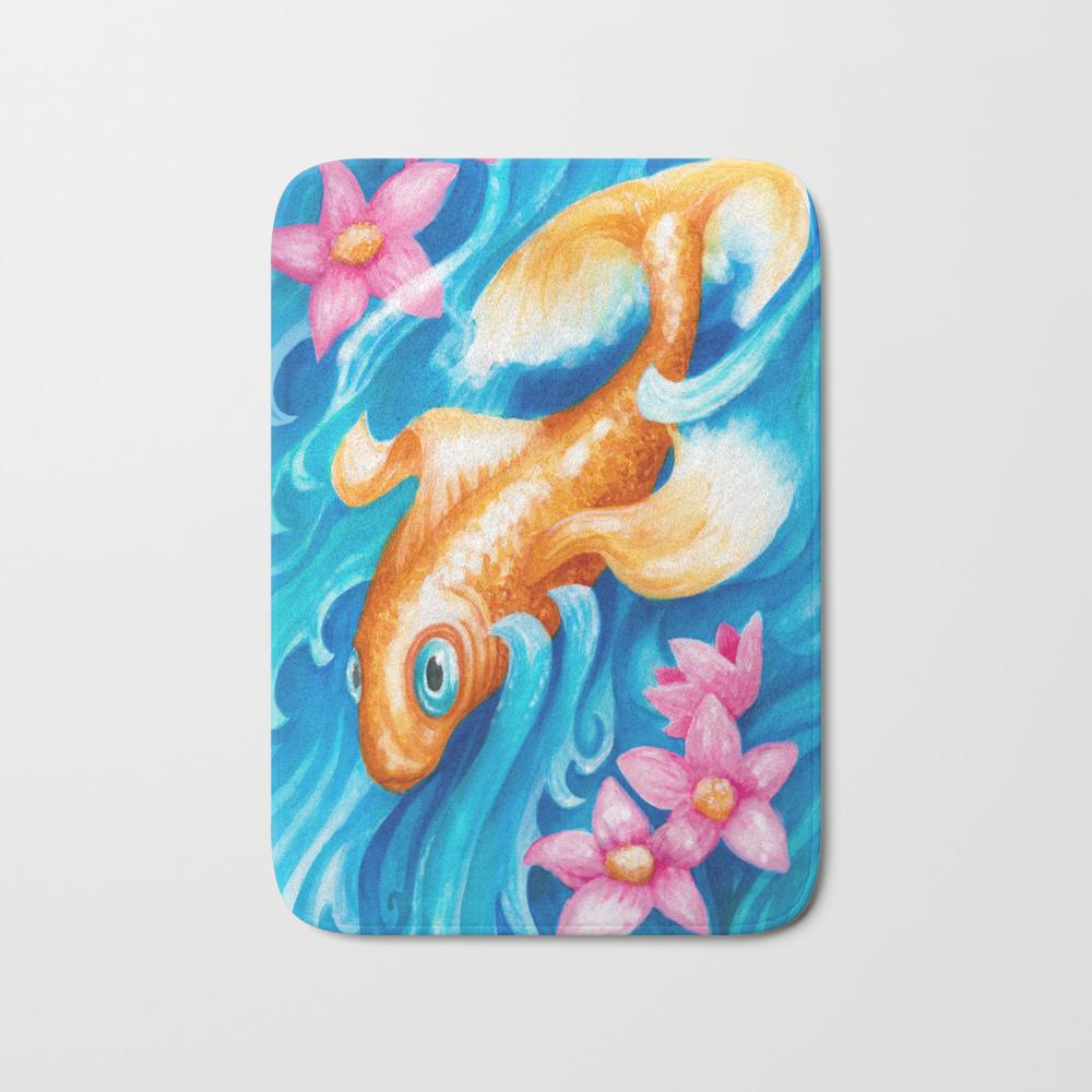 Koi Fish In A Stream Bath Mat by Mariamahar BMT8665096