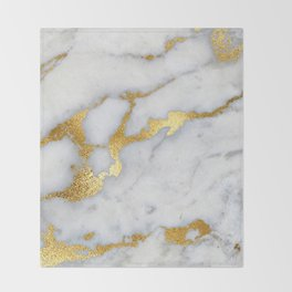 White and Gray Marble and Gold Metal foil Glitter Effect Throw Blanket