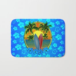 Sunset And Surfboards Bath Mat