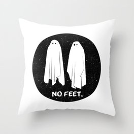 No Feet Ghosts Black and White Graphic Throw Pillow