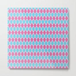 Pink blue diamond pattern Metal Print
