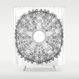 GEOMETRIC NATURE: SEA URCHIN w/b Shower Curtain