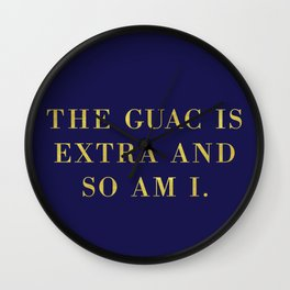The Guac Is Extra-Navy | Guacamole | Sassy | Digital Typography Wall Clock