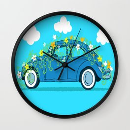 blue car flowers Wall Clock