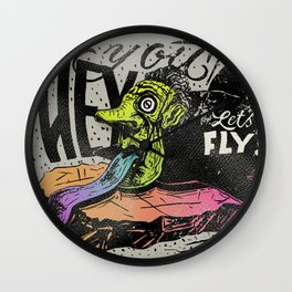Hey you, let's fly! - Said the whale Wall Clock