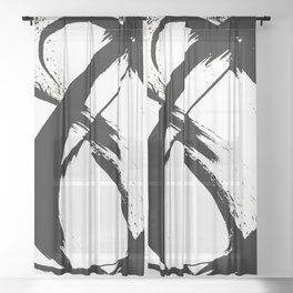 Brushstroke 7: a minimal, abstract, black and white piece Sheer Curtain