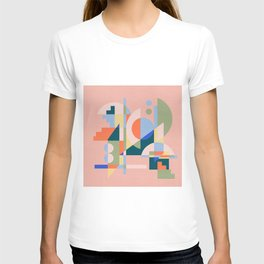 Abstract cityscape in geometric shapes T-shirt