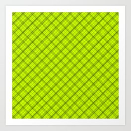Slime Green and Black Halloween Tartan Check Plaid Art Print