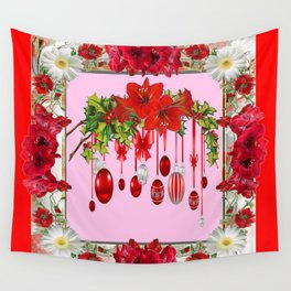 RED AMARYLLIS FLOWERS & HOLIDAY ORNAMENTS PINK DECOR Wall Tapestry