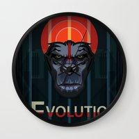 planet of the apes Wall Clocks featuring Dawn of the Apes by milanova