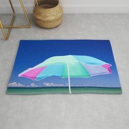 Beach Umbrella at the Shore on Lake Michigan Rug