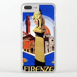Florence Firenze travel, lion statue Clear iPhone Case