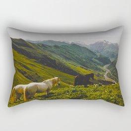 Pretty Horses In Mountain Valley Rectangular Pillow