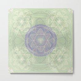 Mandala Pattern in Mint and Lilac Metal Print