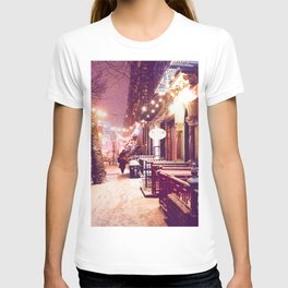 Winter Night with Snow in the East Village New York City T-shirt