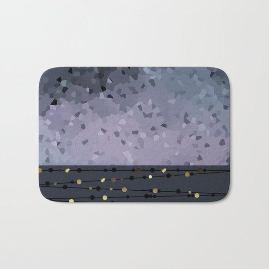 Pink-grey ,blue combo pattern . Bath Mat