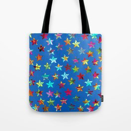 Colorful Pinwheels on Blue Background Tote Bag