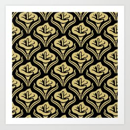 Calla Lily Pattern Black and Gold Art Print