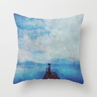 sleep Throw Pillows featuring Sleep by  Maʁϟ