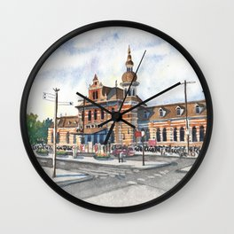 Delft Station in Watercolor Wall Clock
