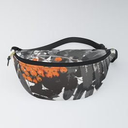 Red Rowan Berries In Black And White Background #decor #society6 Fanny Pack