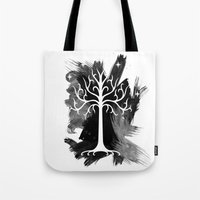 gondor Tote Bags featuring White Tree Of Gondor by Icarusdie