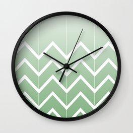 Broken Chevrons (Green) Wall Clock