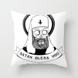 Satan bless you Throw Pillow